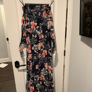 Off the shoulder long floral dress